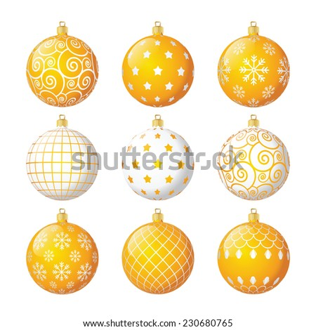 Set of yellow and white vector christmas balls with different patterns - stock vector