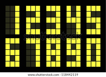 Set of yellow digital number square on black - stock vector