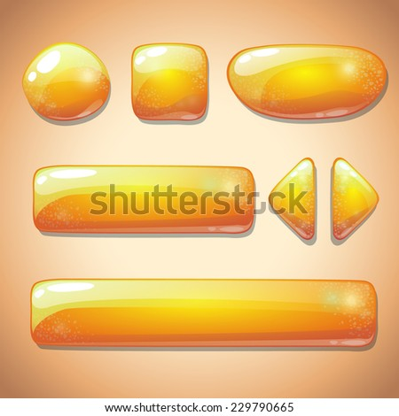 Set of yellow glossy buttons, beautiful sparkling elements for web or game design - stock vector
