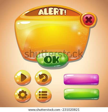 Set of yellow glossy information panel and buttons, beautiful sparkling elements for your game design - stock vector