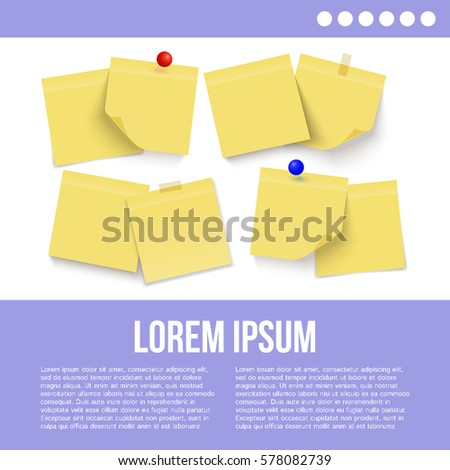 Set of yellow notes. Paper. Vector.