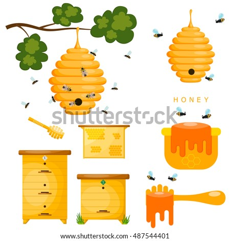 Set of yellow objects beekeeper. Yellow bee hive on a white background. Bee hive isolate. 