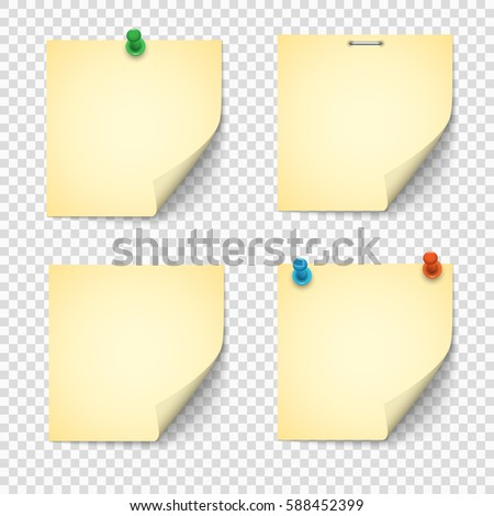 Set of yellow paper notes with push pins. Paper stickers, note post memo, labels. Vector design elements