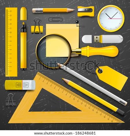 Set of Yellow school supplies on the blackboard background, vector illustration.  - stock vector