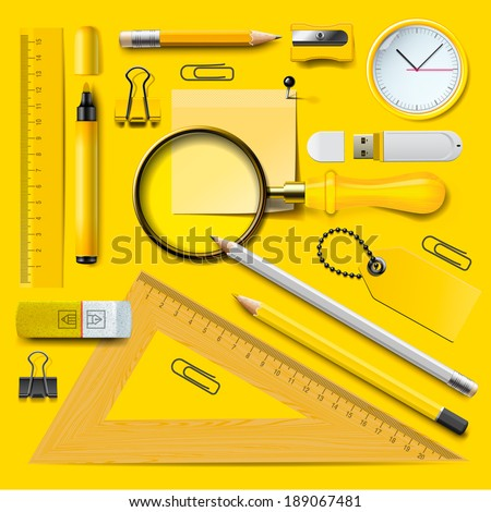 Set of Yellow school supplies on the blackboard background, vector illustration.  - stock vector
