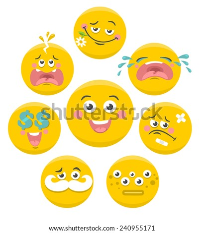 Set of yellow smile faces. Vector collection. - stock vector