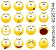 Set of yellow smiles. Vector illustration, isolated on a white. - stock vector