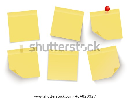 Set of yellow sticky notes. Post it notes. Paper. Vector.
