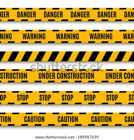 Set of yellow warning tapes. Vector illustration