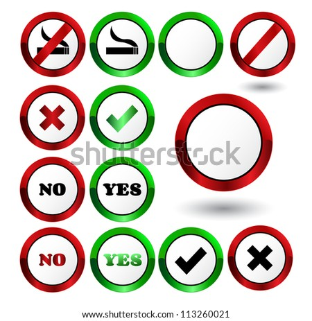 Set of yes and no check mark buttons Vector - stock vector