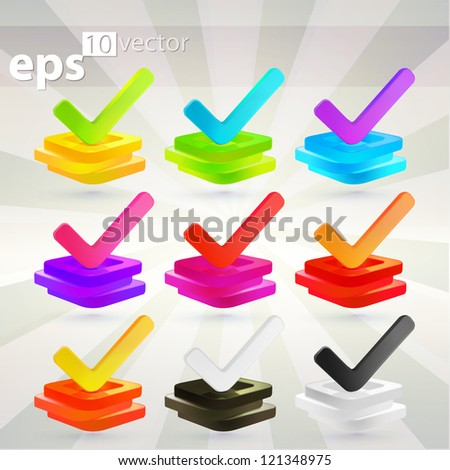 Set of yes option ticks over checkbox stacks, eps10 vector emblem icon - stock vector