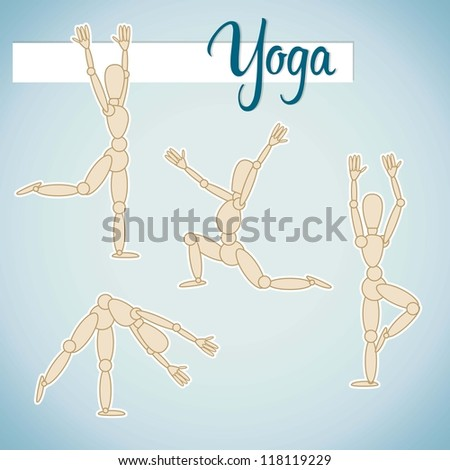 Set of yoga and fitness - stock vector