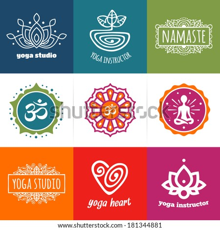 Set of yoga and meditation graphics and logo symbols - stock vector