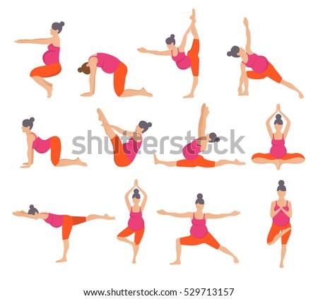 Set Yoga Poses Pregnant Women Prenatal Stock Vector ...
