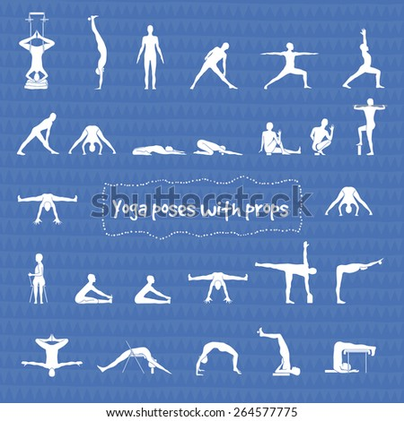 Set of 24 yoga poses with props in vector - stock vector