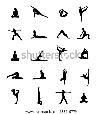 Stock vector set of yoga positions black vector silhouettes