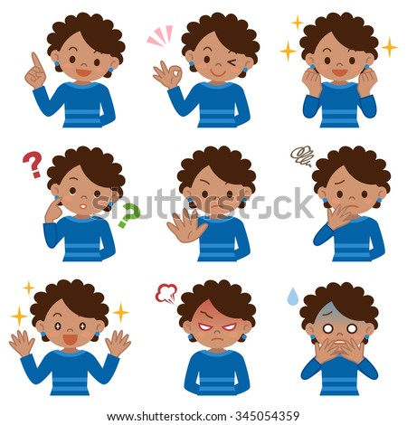 Set of young black woman - stock vector