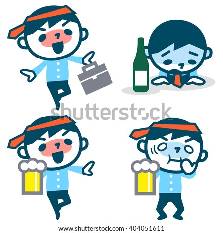 Set of young drunk businessman - stock vector