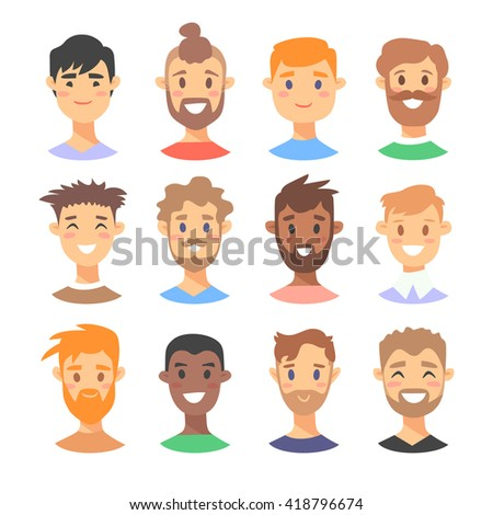 set young male characters cartoon style stock vector (2018