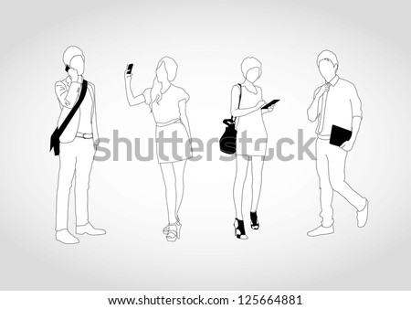 set of young people using smart devices - stock vector