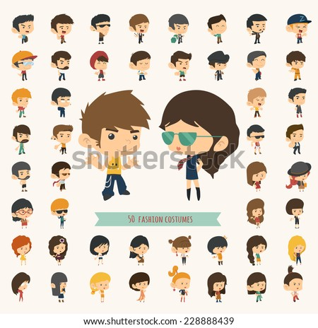 Set of 50 young people with hipster fashion style , eps10 vector format - stock vector