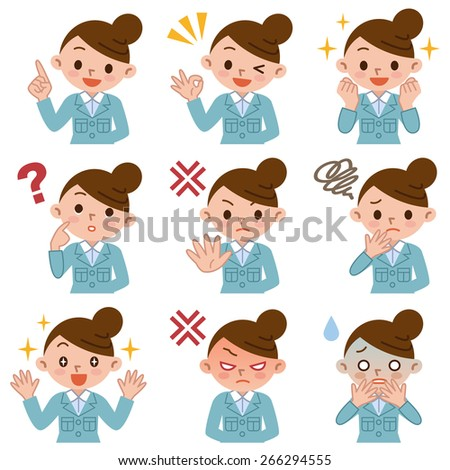 Set of young women in work clothes - stock vector