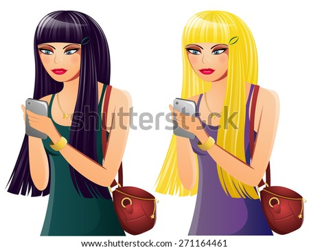 Set of 2 Young Women on Cell Phones - stock vector