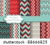 set of zig zag vector paper for scrapbook - stock vector