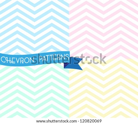 Set of zigzag seamless pattern. Colorful chevron ornament. Vector illustration - stock vector