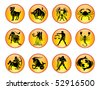 Set of Zodiac Icons - stock vector