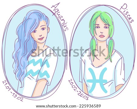 Set of zodiac signs. Girls in t-shirts with different hairstyles colored line art sketch - aquarius, pisces