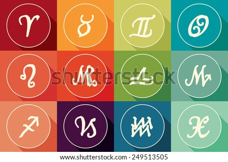 Set of zodiac signs in flat design with long shadow - stock vector