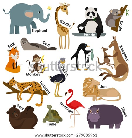 Set of zoo cartoon animals. Flat style design icons set. Vector illustration. - stock vector