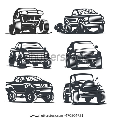Set off-road suv car monochrome labels, emblems, badges or logos isolated on white background. Off-roading trip emblems, 4x4 extreme club emblems. Vector EPS10.