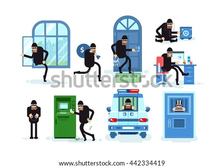 Set offenders, thief breaks window, running with bag of money, thief opens door lock picks, opens safe, Hacker, criminal in handcuffs, steals money from ATM, arrested in police car, prisoner in jail - stock vector