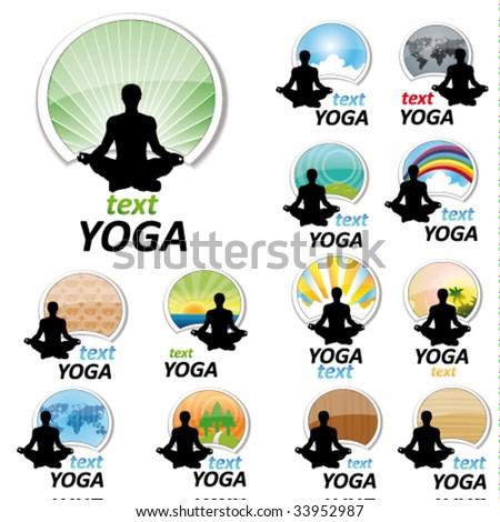 set og yoga signs - stock vector