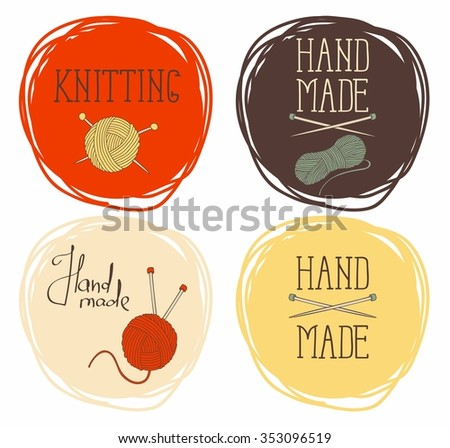 Set on the theme of circular patterns of knitting.It can be used for  stickers and labels  - stock vector