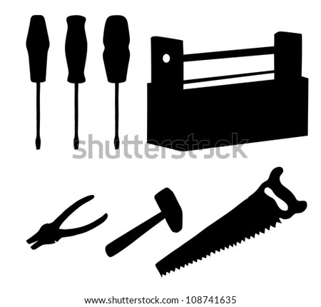 Set operating tools: hammers, saws, pliers, screwdrivers and wooden box, black silhouette on white background. Vector illustration - stock vector