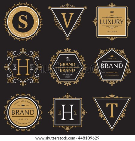 Set or collection of ornate or vignette brand or product vintage banner or retro logo, old badge that guarantees quality, sticker with ribbon for label and crown above - stock vector