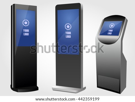 Set or Promotional Interactive Information Kiosk Terminal Stand Touch Screen Display. Mock Up Template. - stock vector