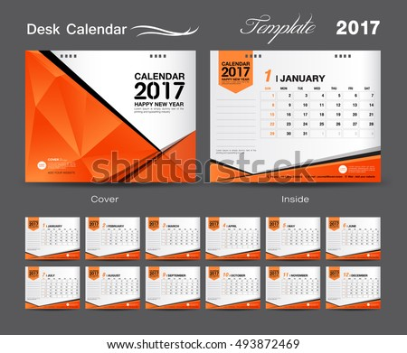 Set Orange Desk Calendar 2017 Template Stock Vector 500602483