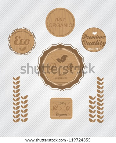 set Organic eco wood label and badges - stock vector