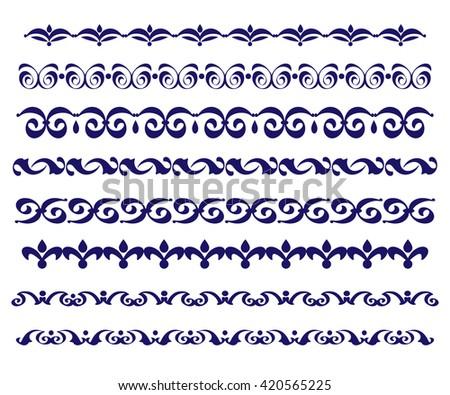Set ornamental borders. Vector decorative elements.Blue. - stock vector