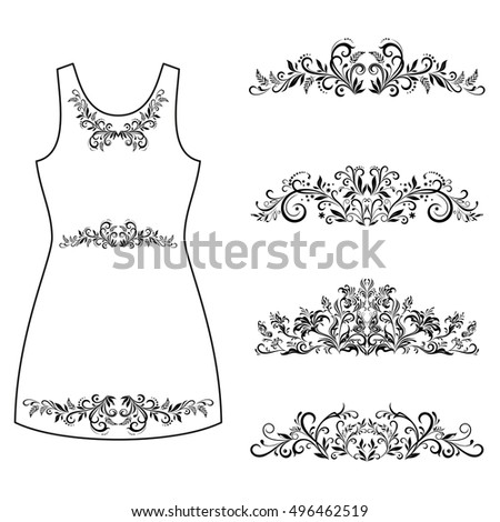 Set Outline Floral Patterns, Symbolical Flowers and Butterflies Black Contours Isolated on White Background, Element for Design, Prints and Banners, For the Example Presented in a Female Dress. Vector