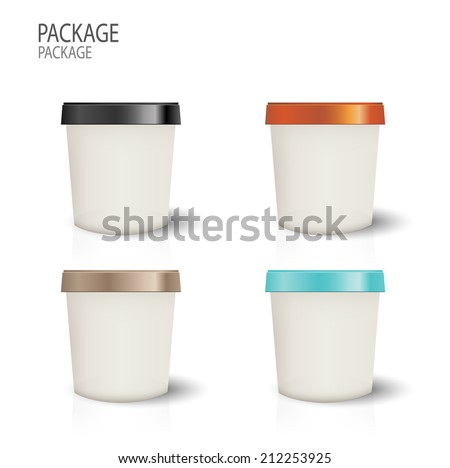 set Package cup ice cream design vector illustration - stock vector