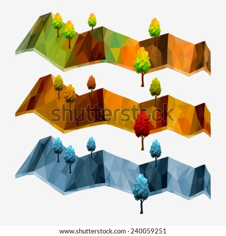 SET panoramas with trees and hills. Tree abstract isolated on a white background (illustration of a many triangles) - stock vector