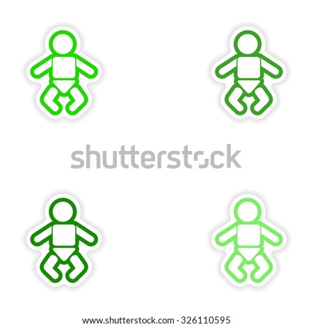 Set paper stickers on white background newborn baby - stock vector