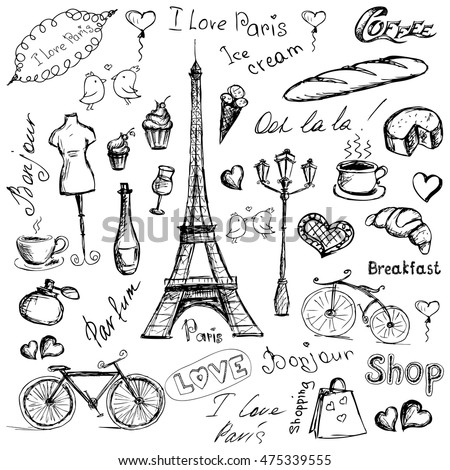 Set Paris symbols, hand drawn objects or icons isolated on white background, stock vector illustration