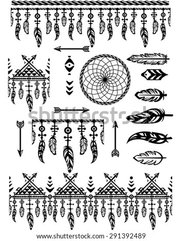 Set pattern brushes and borders with feathers  - stock vector