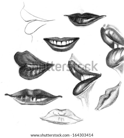 Set pencil drawing lips autotraced realistic stock vector 164303414 shutterstock